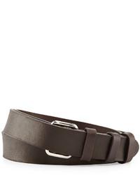 Prada Leather Runway Belt Dark Brown