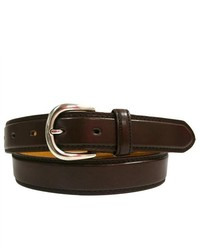 Luxury Divas Brown Leather Dress Belt With Silver Buckle