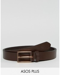 Asos Plus Smart Slim Leather Belt In Brown