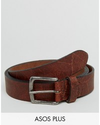 Asos Plus Wide Leather Belt With Vintage Finish