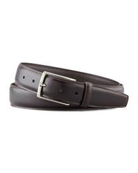 Ermenegildo Zegna Polished Leather Belt Dark Brown
