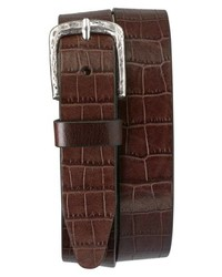 Trask Rex Croc Embossed American Steer Leather Belt
