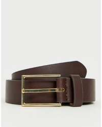 ASOS DESIGN Smart Faux Leather Slim Belt In Brown