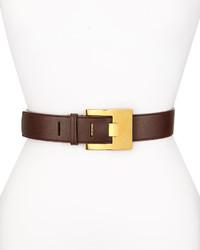 Stella McCartney Solid Faux Leather Belt Brown