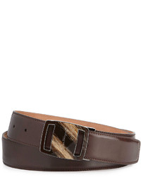 Salvatore Ferragamo Vara Sardegna Oversized Leather Belt Dark Brown