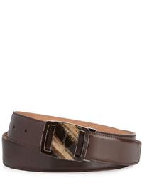 Salvatore Ferragamo Vara Sardegna Oversized Leather Belt Dark Brown