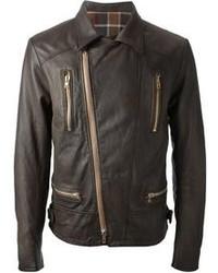 Dark Brown Leather Biker Jacket