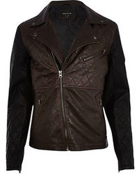 River Island Black Color Block Biker Jacket