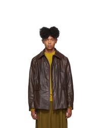 Dries Van Noten Brown Faux Leather Jacket