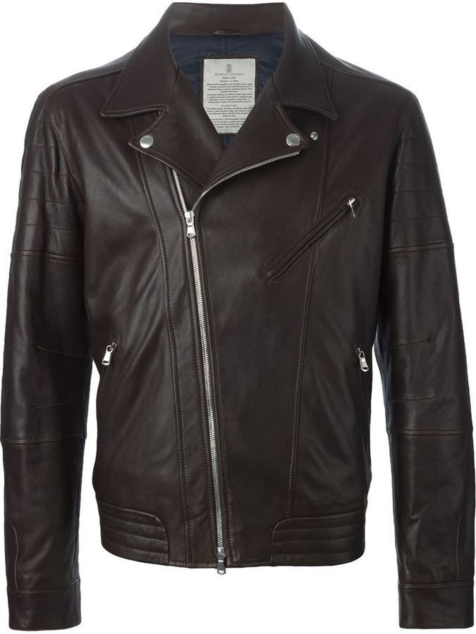 Brunello Cucinelli Mens Leather Biker Jacket