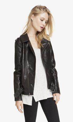 9f191d6b01f ... Express Dark Brown Leather Long Moto Jacket ...