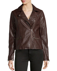 Neiman Marcus Faux Leather Quilted Inset Moto Jacket Brown