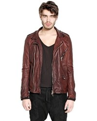 Giorgio Brato Washed Nappa Leather Moto Jacket