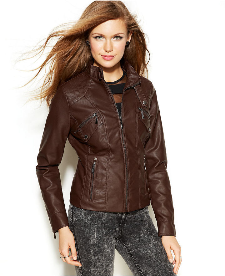 Images of Brown Faux Leather Jacket - Reikian