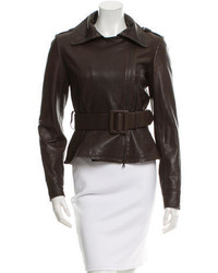 Oscar de la Renta Leather Belted Jacket