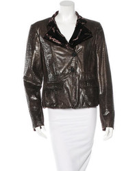 Armani Collezioni Metallic Faux Leather Jacket