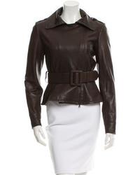 Oscar de la Renta Leather Belted Jacket