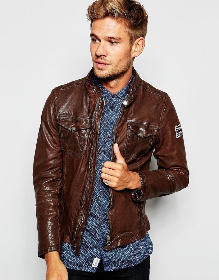 the best attitude ad1b6 74942 $405, Pepe Jeans Pepe Leather Biker Jacket Guzzi Zip Thru