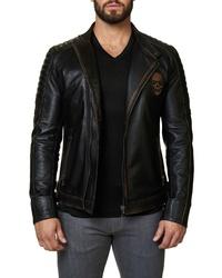 Maceoo Skull Leather Moto Jacket