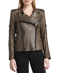 Vince Jo Peters Leather Moto Zipper Jacket