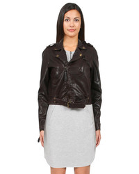 Nicole Miller Washed Moto Leather Jacket In Brown