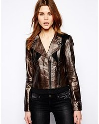 Y.a.s Metallic Leather Biker Jacket