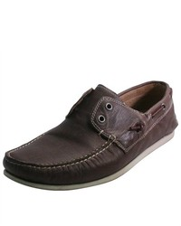 John Varvatos USA Brown Schooner Leather Loafers Boat Shoes 85