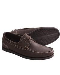 Johnston and Murphy Barnaby Boat Shoes Nubuck Dark Brown