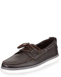 Ermenegildo Zegna Leather Boat Shoe Dark Brown