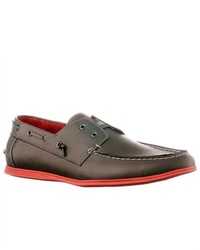 Steve Madden Crater Leather Boat Shoes Grey Size 7
