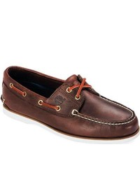 Timberland Classic Boat 2 Eye Dark Brown Smooth Lace Up Shoes