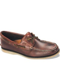 Timberland Classic Boat Rootbeer Smooth Leather Moc Toe Shoes