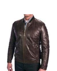 Andrew Marc Cash Leather Bomber Jacket Dark Brown