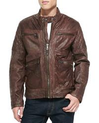 Andrew marc leather zip front moto jacket brown medium 138188