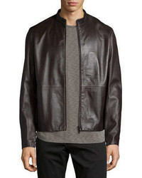 Theory Arvid Leather Jacket Brown