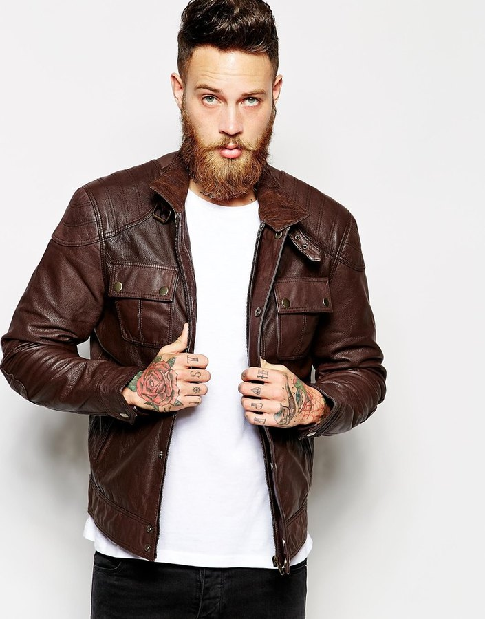 Asos Brand Leather Jacket With Chest Pocket | Where to buy & how ...