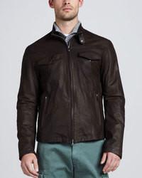 Brunello Cucinelli Leather Bomber Jacket Chocolate