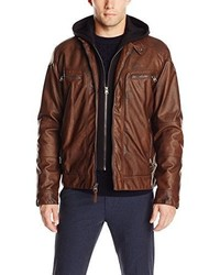 Calvin Klein Faux Leather Moto Jacket With Hoodie