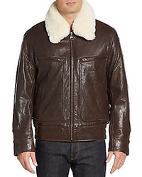 Andrew Marc Carmine 2 Faux Fur Trimmed Leather Jacket