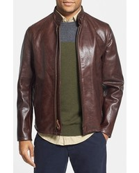 Casual cafe racer slim fit leather jacket medium 357995