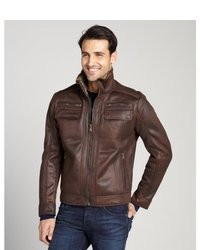 Calvin Klein Chocolate Brown Faux Shearling Faux Leather Zip Front Jacket