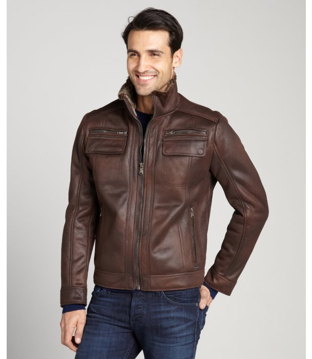 ... Calvin Klein Chocolate Brown Faux Shearling Faux Leather Zip Front  Jacket