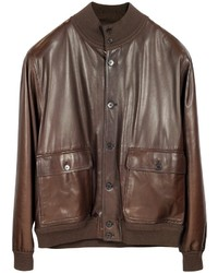 Schiatti Co Dark Brown Leather Jacket Wchasmere Lining