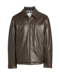 Collared open bottom faux leather jacket medium 8611608