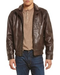 Daniel Cremieux Cremieux Leather Full Zip Bomber Jacket