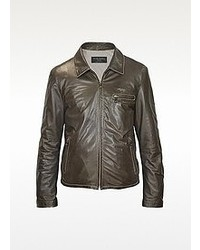 Forzieri Dark Brown Genuine Leather Motorcycle Jacket