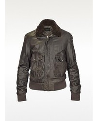 Forzieri Dark Brown Leather Bomber Jacket W Removable Sheepskin Collar