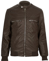River Island Dark Brown Leather Look Bomber Jacket