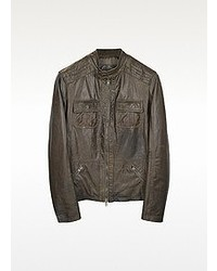 Forzieri Dark Brown Leather Motorcycle Jacket