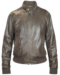 Forzieri Dark Brown Soft Leather Bomber Jacket